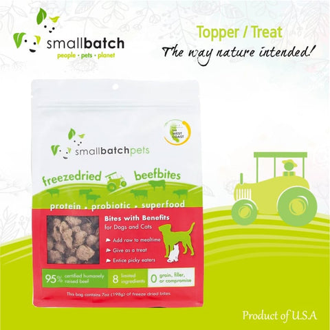 Smallbatch [2 FOR $52] Smallbatch Beef Bites Freeze Dried Dog & Cat Topper/Treats 7oz Dog Food & Treats