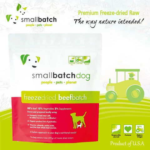 Smallbatch [3 FOR $128] Smallbatch Beef Slider Freeze-Dried Dog Food 14oz Dog Food & Treats