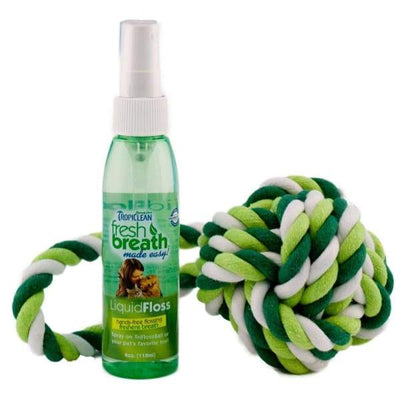 TropiClean [15% OFF] Tropiclean Fresh Breath Liquid Floss and TriFlossBall Dog Healthcare