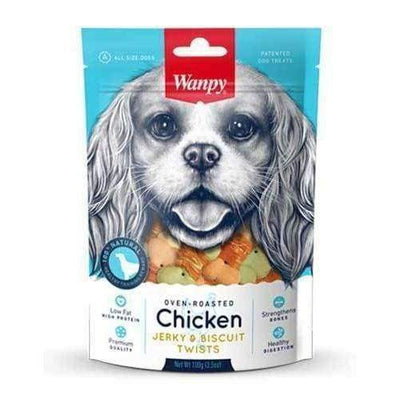 Wanpy Wanpy Oven-Roasted Chicken & Biscuit Twists Dog Treats 100g Dog Food & Treats