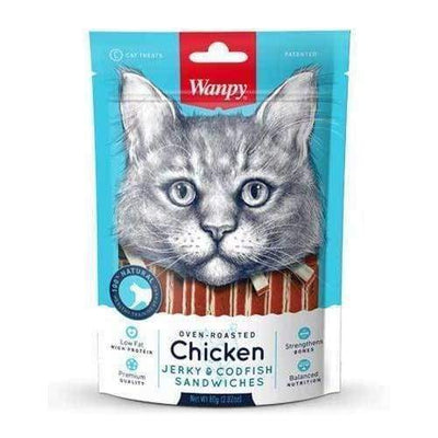 Wanpy Wanpy Oven Roasted Chicken & Cod Fish Sushi Cat Treats 80g Cat Food & Treats