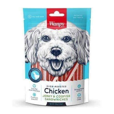 Wanpy Wanpy Oven-Roasted Chicken & CodFish Sandwiches Dog Treats 100g Dog Food & Treats