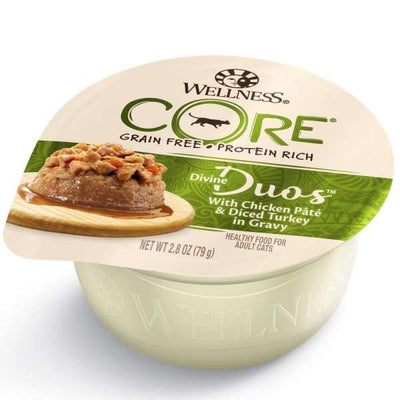 Wellness [Buy 4 with 25% OFF] Wellness CORE Divine Duos Chicken Pate & Diced Turkey In Gravy Wet Cat Food 2.8oz Cat Food & Treats