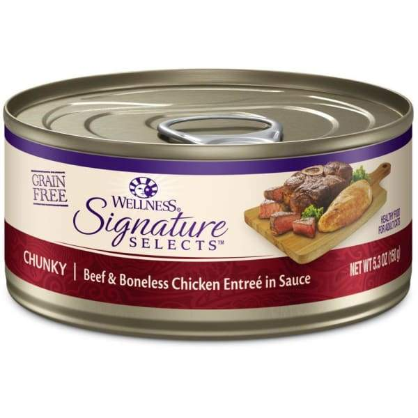 Wellness [20% OFF] Wellness CORE Signature Selects Chunky Beef & Chicken Canned Cat Food 5.3oz Cat Food & Treats