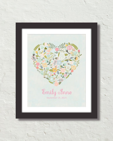 Floral Heart Personalized Art No. 13 Art Print