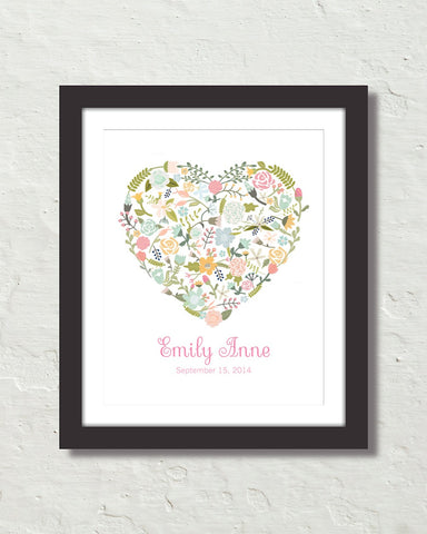 Floral Heart Personalized Art No. 12 Art Prnt