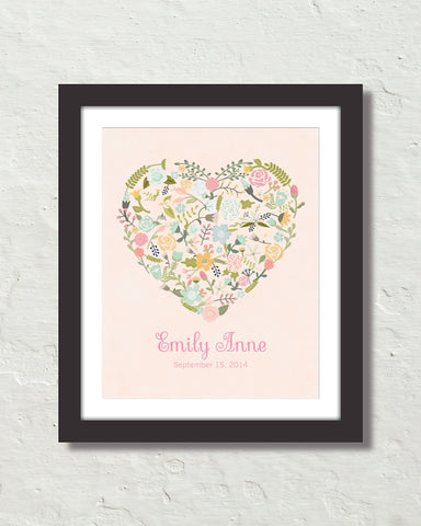 Floral Heart Personalized Art No. 11 Art Print