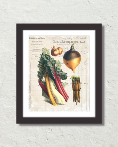 French Vegetable Collage No. 1 Botanical Art Print