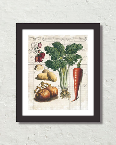 French Vegetable Collage No. 3 Botanical Art Print