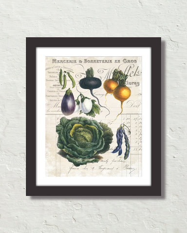 French Vegetable Collage No. 4 Botanical Art Print