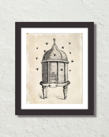 Vintage Bee And Hive Illustration Art Print