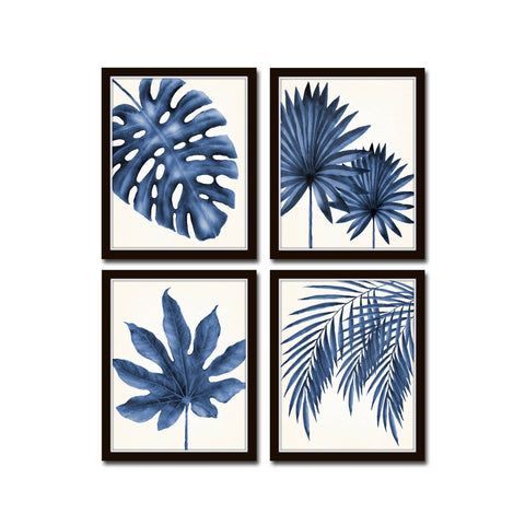 Indigo Blue Watercolor Tropical Leaf Print Set