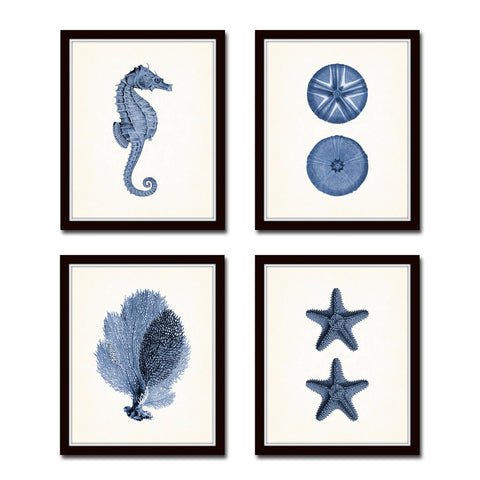 Indigo Sea Life Print Set No.9