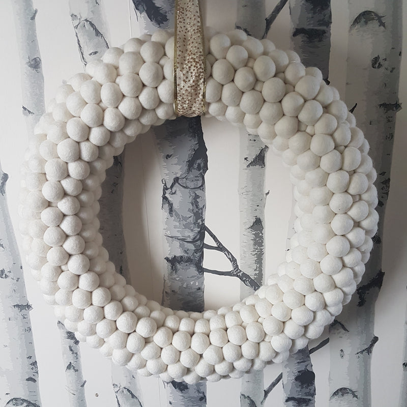 White Felt Ball Wreath