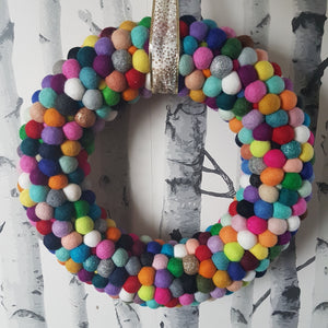 Multicolored Felt Ball Wreath