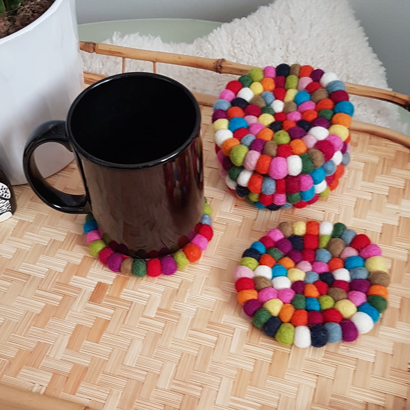Rainbow Felt Ball Coasters