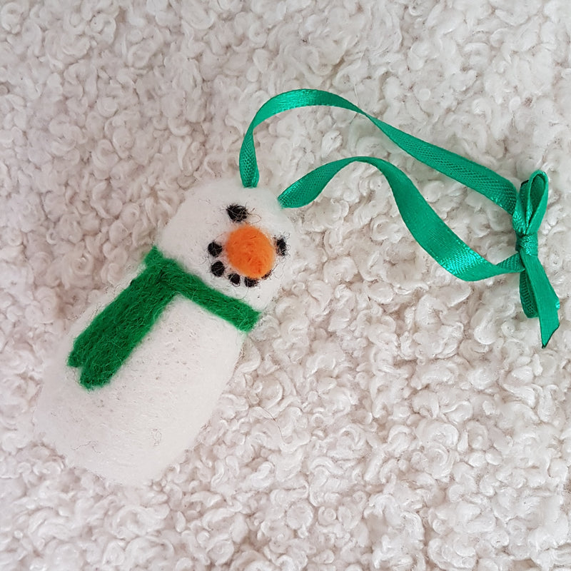 Green snowman felted ornament