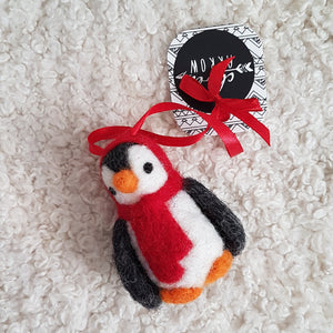 Red penguin felted ornament