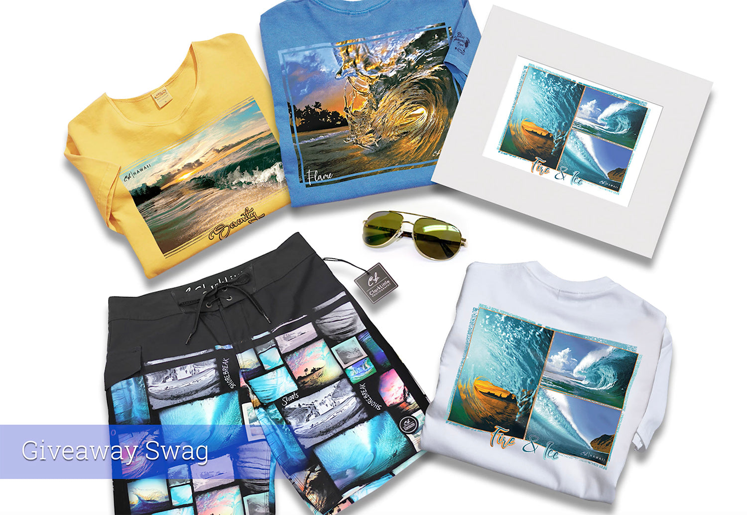 Crazy Shirts giveaway products - t-shirts and boardshorts