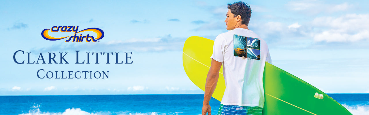 Clark Little Crazy Shirts collection. Dane Little holding surfboard with Crazy Shirt on.