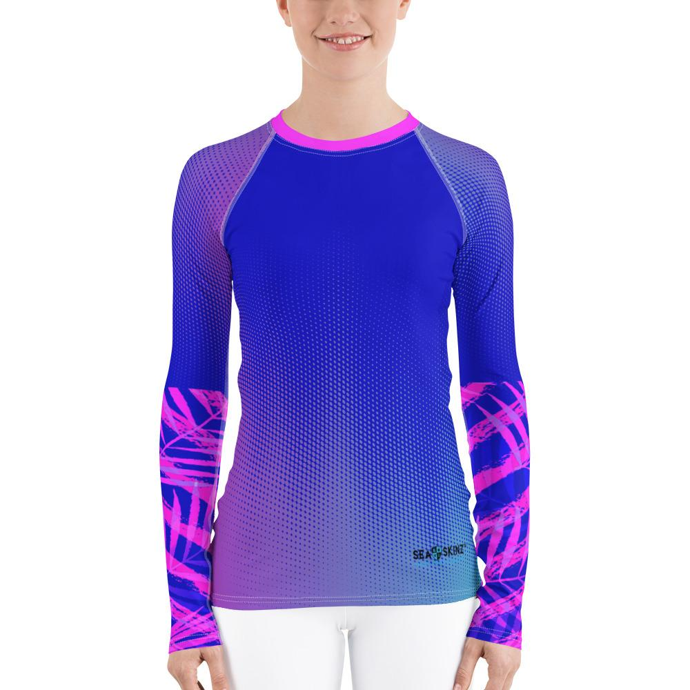 Women's Speckled Palm Sea Skinz Performance Rash Guard UPF 40+