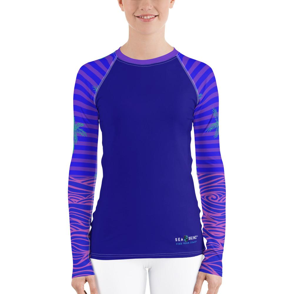 Women's Reels and Reefs Striped Sea Skinz Performance Rash Guard UPF 40+
