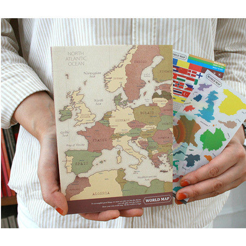 World Map Lined Notebook & Stickers