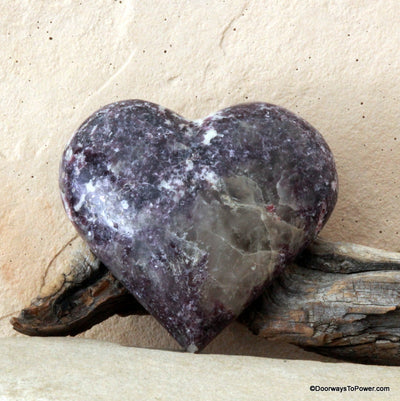 Lepidolite Crystal Heart with Pink Tourmaline and Calcite