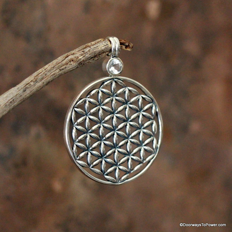 Flower of Life Pendant w/ Danburite .925 SS