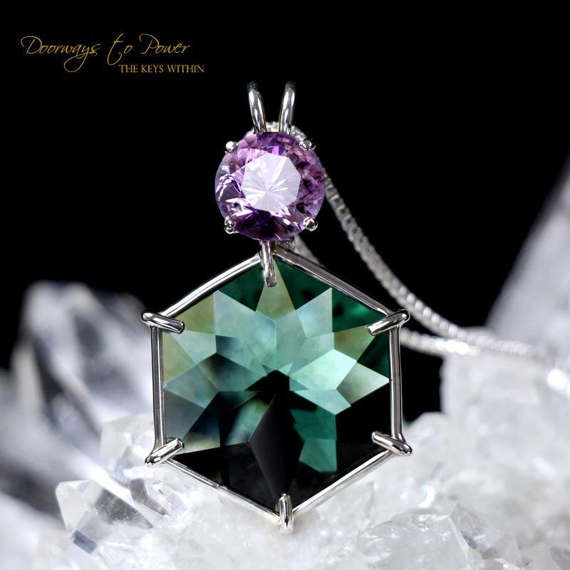 Siberian Green Quartz & Amethyst Flower of Life Pendant