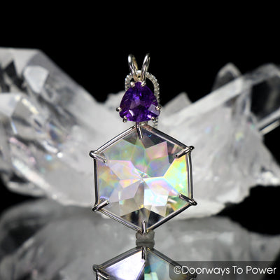 Angel Aura Amethyst Flower of Life Crystal Pendant