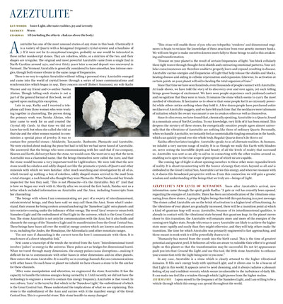 Azeztulite Properties Book of Stones