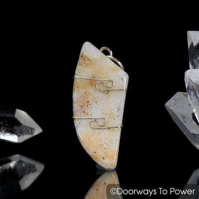 Honey & Cream Azeztulite Gemstone Crystal Pendant