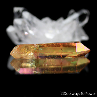 Colombian Lemurian Seed Tangerine Aura Quartz Imperial Gold Crystal