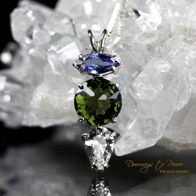 Tanzanite Moldavite Danburite Mini Radiant Heart Pendant