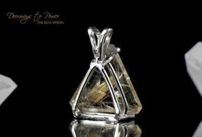 Golden Rutilated Quartz Triangle Faceted Pendant