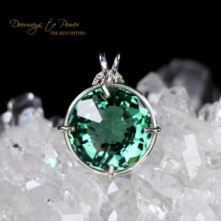 Siberian Green Quartz Radiant Heart Pendant