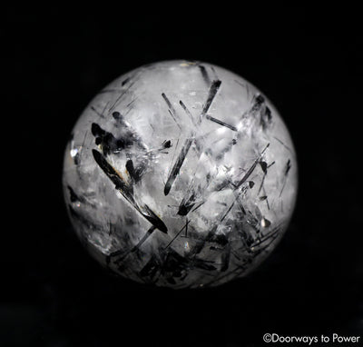Black Tourmalinated Quartz Crystal Sphere