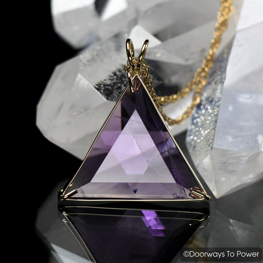 John of God Amethyst Star of David Vogel Crystal Pendant 14k