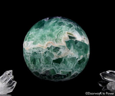 Green Purple Fluorite Crystal Sphere with Rainbows