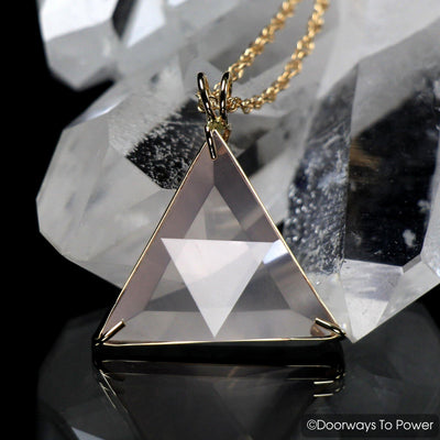Rose Quartz Star of David Vogel Crystal Triangle Pendant 14k
