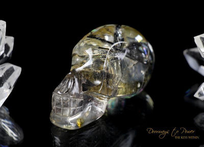 Black Tourmalinated Akhenaten Elongated Crystal Skull 'Ancient Code'
