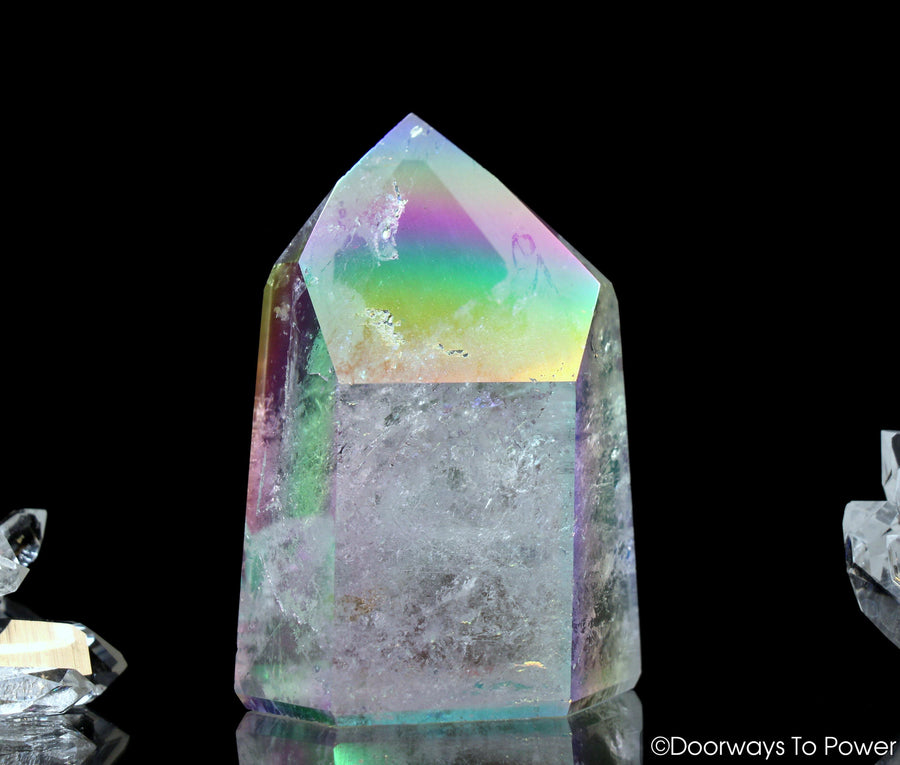 Angel Aura Lemurian Quartz Crystal Point 'Your Future in Wings'