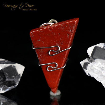 Red Fire Azeztulite Wire Wrap Pendant