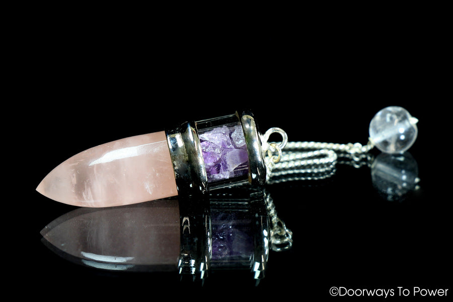 Rose Quartz & Amethyst pendulum .925 SS A ++ Top Quality