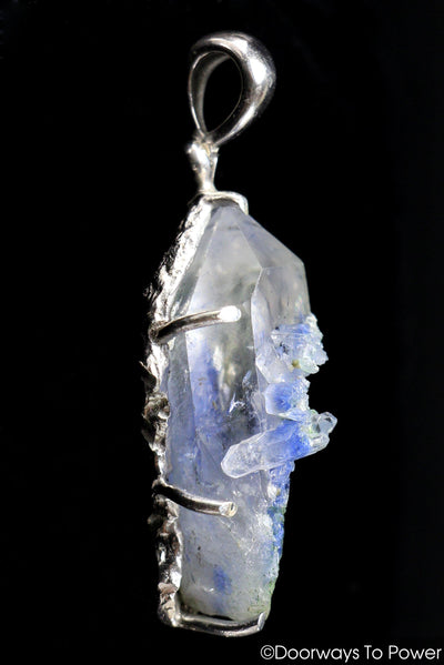 Dumortierite in Quartz Crystal Pendant .925 SS