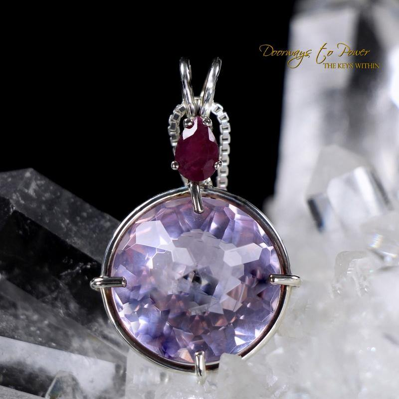 Ruby Lavender Quartz Red Ruby Radiant Heart Pendant