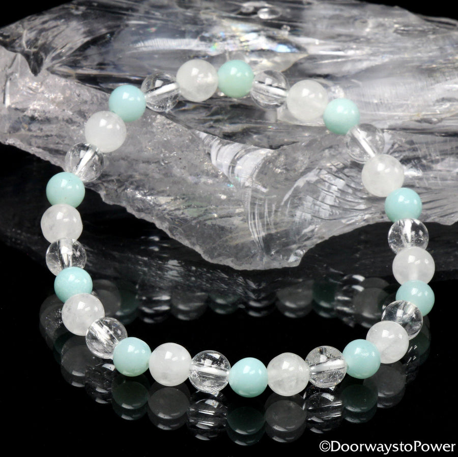 Joy Awakening 2021 Azumar, White Azeztulite and Satyaloka Clear Azeztulite Crystal Energy Bracelet