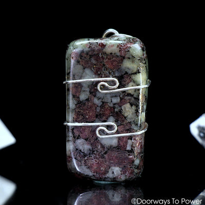 Eudialyte Gemstone Crystal Pendant .925 SS Wire Wrap