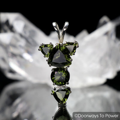 Faceted Moldavite Gemstones Pendant 'The Winged Sun RA'  Protective Amulet